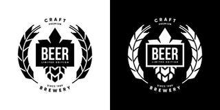 Nowożytny piwny wektor odizolowywający rzemiosło napoju loga znak dla baru, pubu, browaru i brewhouse, Obraz Royalty Free