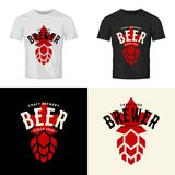 Nowożytny piwny wektor odizolowywający rzemiosło napoju loga znak dla baru, pubu, browaru lub brewhouse, Obrazy Stock