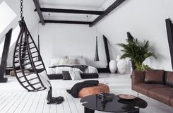 Nowożytny planu mieszkanie w attyku, loft styl obrazy royalty free