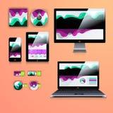 Nowożytny podaniowy szablonu projekt dla korporacyjnej tożsamości Komputerowy pastylki i telefonu set Obraz Royalty Free