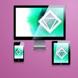 Nowożytny podaniowy szablonu projekt dla korporacyjnej tożsamości Komputerowy pastylki i telefonu set Zdjęcie Royalty Free