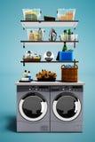 Nowożytny pojęcie ustawiający z osuszką odzieżową i pralką dla myć odziewa z setem detergenty 3d odpłacają się na błękitnym backg ilustracja wektor