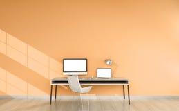 Nowożytny pomarańczowy desktop wnętrze z przyrządów 3D renderingiem Obrazy Stock