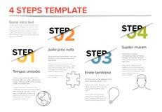 Nowożytny postępu cztery kroków szablon Obrazy Stock