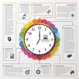 Nowożytny praca czasu zarządzania planistyczny infographics pojęcia prowadzenia domu posiadanie klucza złoty sięgający niebo równ Fotografia Stock