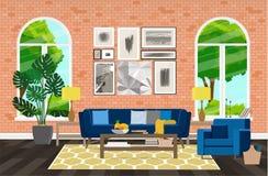 Nowożytny projekt projekt jest wielkim wygodnym żywym pokojem z ogromnymi okno również zwrócić corel ilustracji wektora zdjęcia stock