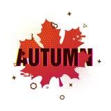 Nowożytny projekt sezonu spadku plakat Jesień tekst na białym tle barwiona sylwetka liść klonowy dekoruje ilustracji