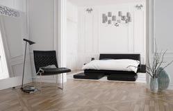 Nowożytny przestronny sypialni wnętrze z przerywającym łóżkiem ilustracji