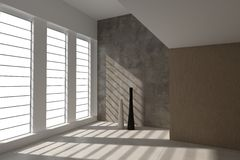 Nowożytny Pusty pokój z wielkimi okno | Architektury wnętrze ilustracja wektor