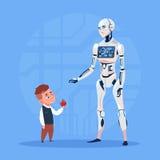Nowożytny robot Komunikuje Z Małej chłopiec Sztucznej inteligenci technologii Futurystycznym pojęciem royalty ilustracja