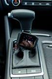 Nowożytny samochodowy wnętrze z mądrze zegarkiem Obrazy Royalty Free
