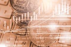 Nowożytny sposób wymiana Bitcoin jest dogodnym zapłatą w globalnym Zdjęcia Stock