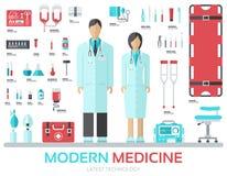 Nowożytny sprzęt medyczny w płaskim projekta tła pojęciu Infographic elementy ustawiający z lekarką wokoło i pielęgniarką royalty ilustracja