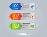Nowożytny strzałkowaty projekta szablon, Kolorowy krok Abstrakt 3D cyfrowy Infographic Wektorowa ilustracja może używać dla Obraz Stock
