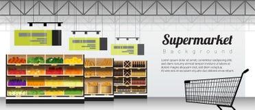 Nowożytny supermarket z produktami i wózek na zakupy tłem ilustracji