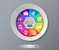 Nowożytny szablon dla biznesowego projekta lub prezentaci z okręgiem Wektorowy ilustracyjny infographic może używać dla sieci Fotografia Royalty Free