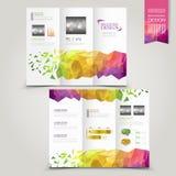 Nowożytny szablon dla reklamowej pojęcie broszurki z geometrycznym Zdjęcia Royalty Free