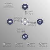 Nowożytny szablon z kolorowymi tomowymi elementami infographics Zdjęcia Royalty Free