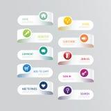 Nowożytny sztandaru guzik z ogólnospołecznymi ikona projekta opcjami ilustracja wektor
