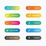 Nowożytny sztandaru guzik z ogólnospołecznymi ikona projekta opcjami Wektorowa bolączka Obrazy Stock