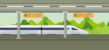 Nowożytny szybki pociąg na staci kolejowej Kolejowy typ transport, lokomotywa Fotografia Stock