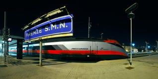 Nowożytny szybkościowy pociąg przy stacją Zdjęcie Stock