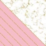 Nowożytny tło z bielu marmuru teksturą, menchie i złociste błyskotliwość linie Szablon dla wakacji projektów, karta, zaproszenie, ilustracja wektor