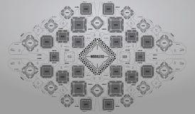 Nowożytny tło z futurystycznym interfejsem użytkownika Elektronicznego komputeru narzędzia technologia Płyta główna cyfrowy układ Fotografia Royalty Free