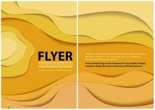 Nowożytny ulotka papieru cięcia stylu projekt z Żółtymi warstwami ilustracja wektor