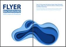 Nowożytny ulotka papieru cięcia stylu projekt z Błękitnymi warstwami ilustracja wektor