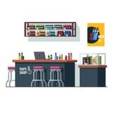 Nowożytny vape sklep z odpierającym biurkiem i witryną sklepową Zdjęcie Stock