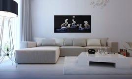 Nowożytny wewnętrzny żywy pokój Zdjęcia Royalty Free