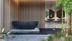 Nowożytny wewnętrzny projekt łazienka z czerń marmuru wanną i drewnianymi ściennymi panel obraz stock