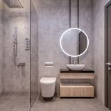 Nowożytny wewnętrzny projekt łazienki bezcelowość, wszystkie ściany robić kamienne cegiełki z okregów lustrami, minimalistyczny i royalty ilustracja