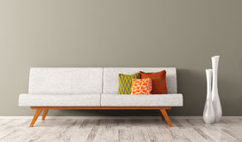 Nowożytny wnętrze żywy pokój z białą kanapą 3d odpłaca się ilustracja wektor