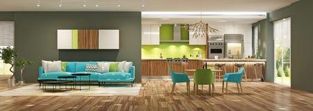 Nowożytny wnętrze żywy pokój z kuchnią w domu lub mieszkaniu ilustracji