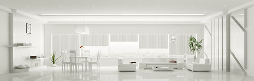 Nowożytny wnętrze biała mieszkanie panorama 3d Obrazy Stock