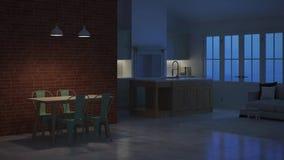 Nowożytny wnętrze dom na wsi noc Wieczór oświetlenie Timelapse ilustracja wektor