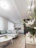 Nowożytny wnętrze mały intymny mieszkanie, siedzący pokój Zdjęcia Stock