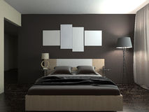 Nowożytny wnętrze sypialni 3d rendering Obraz Royalty Free