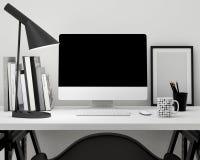 Nowożytny workspace szablonu egzamin próbny w górę tła Zdjęcie Royalty Free