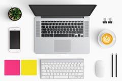 Nowożytny workspace z filiżanką, smartphone, papier, notatnik, t Zdjęcie Royalty Free