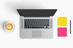 Nowożytny workspace z filiżanką, smartphone, papier, notatnik, t Zdjęcia Royalty Free