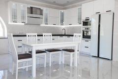 Nowożytny wyśmienity kuchenny wnętrze z białym leminate obrazy royalty free