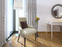 Nowożytny wygodny krzesło z lampą i stołem Zdjęcie Royalty Free