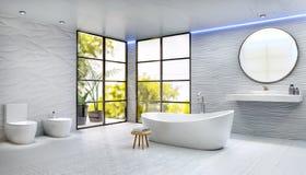 Nowożytny wysokość klucz 3D odpłaca się łazienkę z zaokrągloną kąpielową balią obrazy royalty free