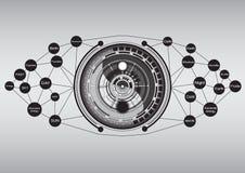 Nowożytny yin Yang z technologia abstrakta tłem Zdjęcia Royalty Free