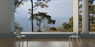 Nowożytny - Żyjący pokoje i Dwa krzesła w narożnikowym nadokiennym widoku przegapia naturę zdjęcia stock