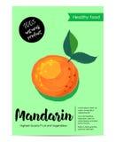 Nowożytny zdrowy karmowy plakat z mandarynką Obrazy Stock