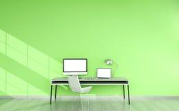 Nowożytny zielony desktop wnętrze z przyrządów 3D renderingiem Fotografia Royalty Free